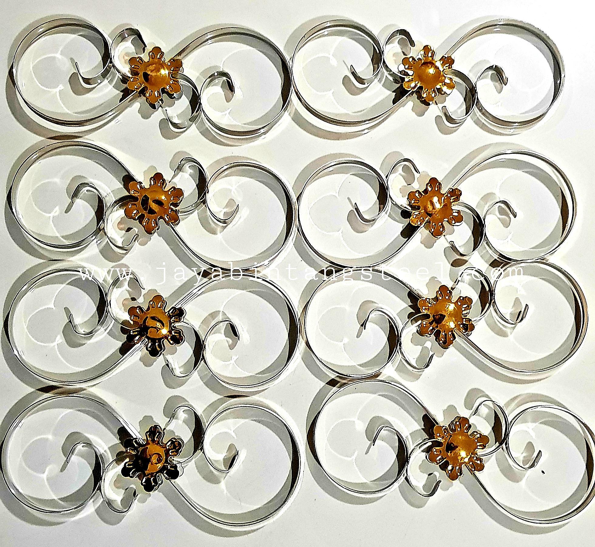 Aksesoris stainless Bunga s perak 10cmx25cm